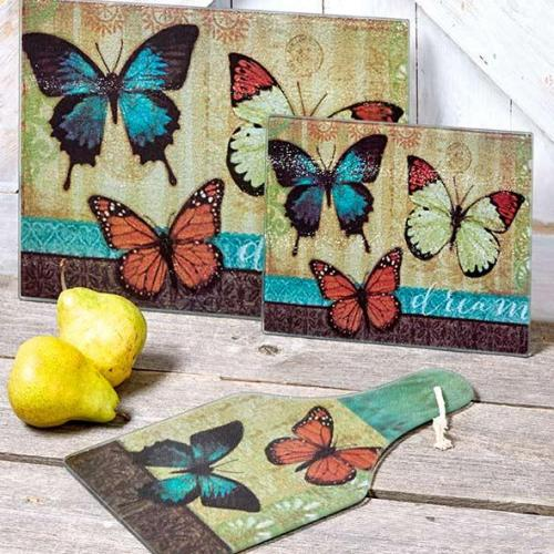 3-piece Glass Cutting and Cheese Board - Butterfly