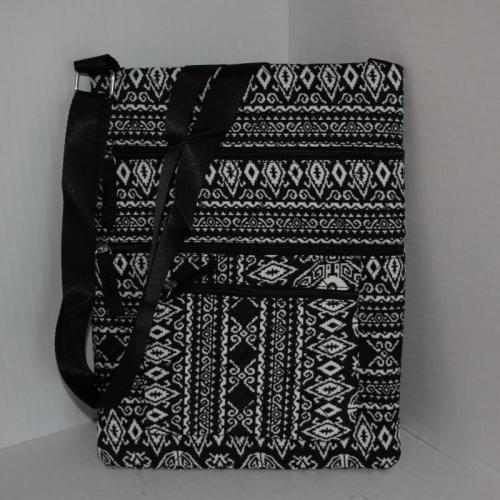 Quilted Triple-Zipper Cross body Bag - Black/White Print