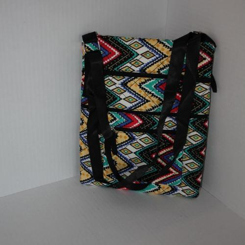Quilted Triple-Zipper Cross body Bag - Tribal Print