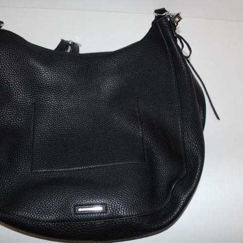 REBECCA MINKOFF Unlined Convertible Whipstitch Hobo Bag Black