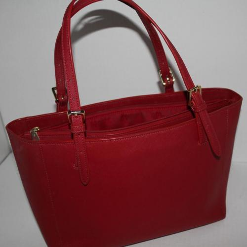 TORY BURCH Red Saffiano Leather York Buckle Tote Bag