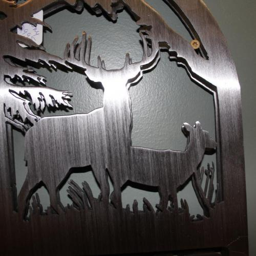 Metal Welcome sign with Deer and Bear