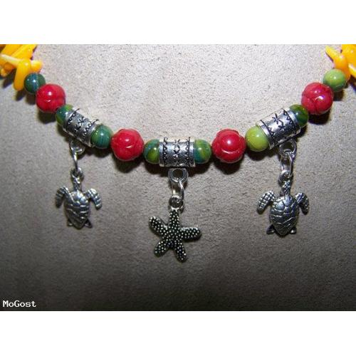 Sea Turtles and Starfish Mother of Pearl with Coral Necklace
