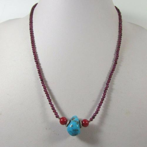 Turquoise Nugget with Red Coral & 3mm Garnets