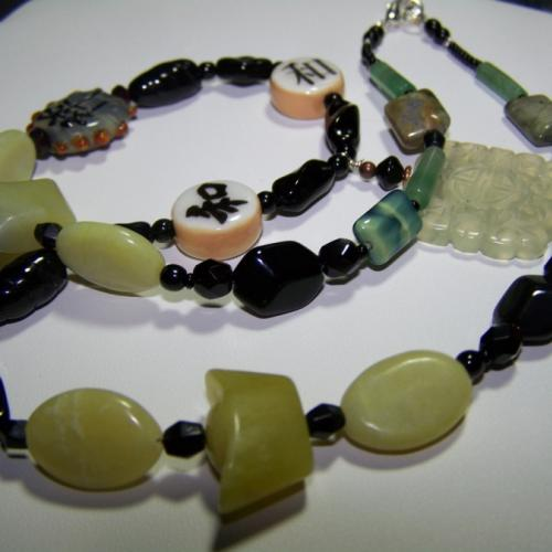 Jade Longlife Harmony -21 1/2 inch Necklace - Mixed Gemstones-Czech Glass