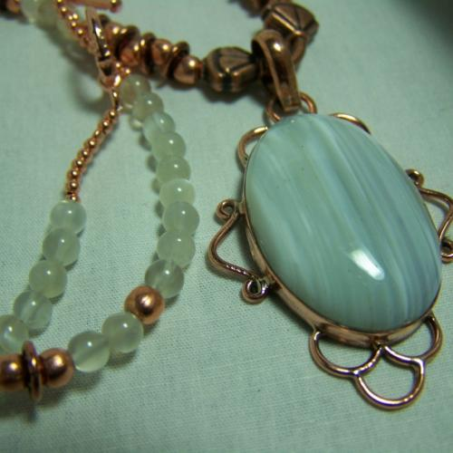 Whipser-Gorgeous AGATE - MOONSTONE and COPPER 20 inch Necklace