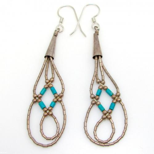 Vintage Navajo Liquid 925 Sterling Silver & Turquoise Heishi Bead Earrings
