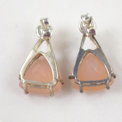 Vintage Sterling Silver 925 Dangle Faceted Pink Gem Earrings