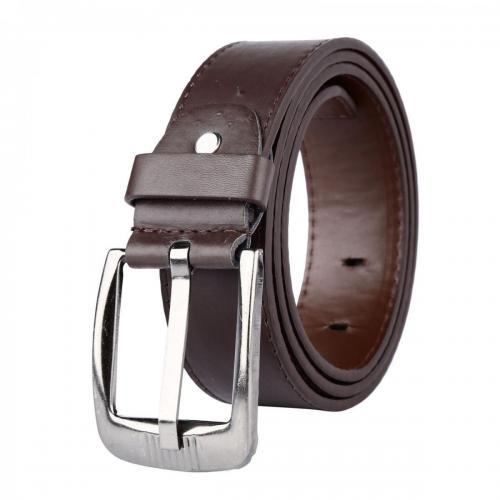 Mens-Womens-PU-Leather-Casual-Belt-Square-Silver-Buckle